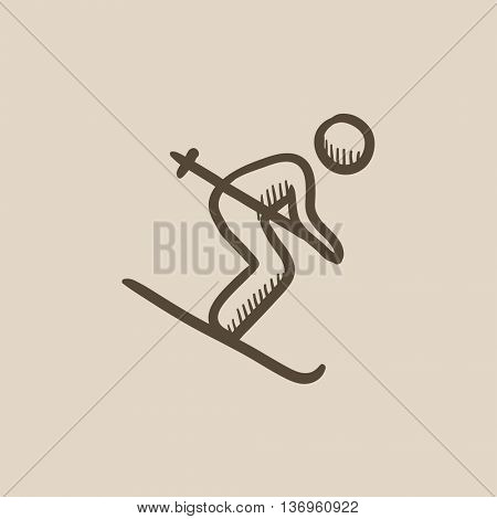 Downhill skiing vector sketch icon isolated on background. Hand drawn Downhill skiing icon. Downhill skiing sketch icon for infographic, website or app.