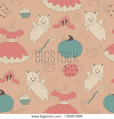 seamless pattern for a princess with cartoon shoes dress magic wand cake tea and heart cat with wings