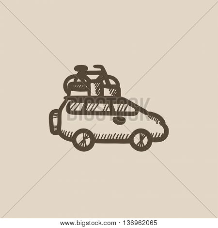 Car with bicycle mounted to the roof vector sketch icon isolated on background. Hand drawn Car with bicycle mounted to roof icon. Car with bicycle on roof sketch icon for infographic, website or app.