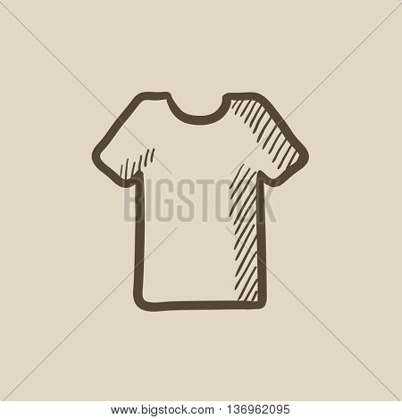 T-shirt vector sketch icon isolated on background. Hand drawn T-shirt icon. T-shirt sketch icon for infographic, website or app.