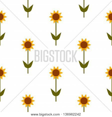 Vector seamless pattern with yellow sunflowers on white background. Floral yellow vector sunflower seamless pattern beautiful bright texture decoration. Decorative sunflower pattern ornament.