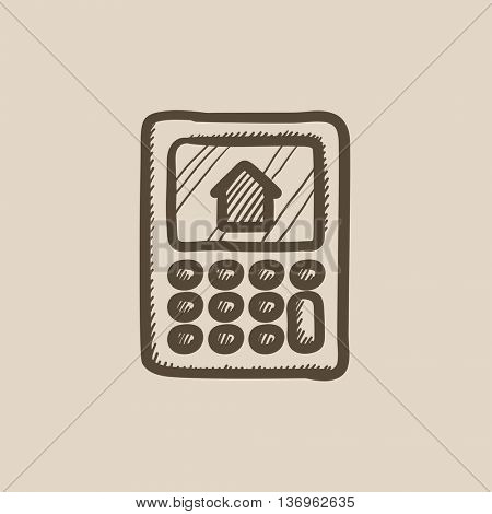 Calculator with house on display vector sketch icon isolated on background. Hand drawn Calculator with house on display icon. Calculator with house sketch icon for infographic, website or app.
