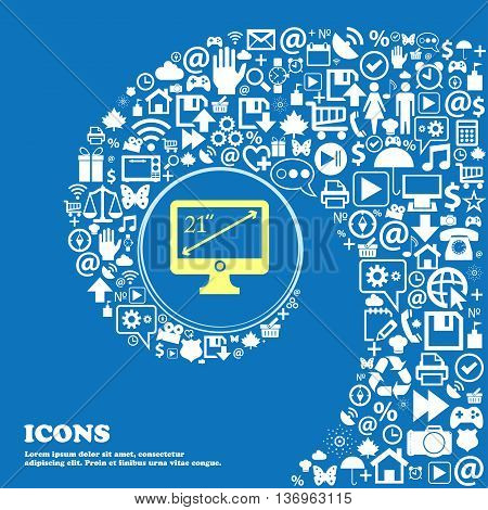 Diagonal Of The Monitor 23 Inches Icon Sign . Nice Set Of Beautiful Icons Twisted Spiral Into The Ce