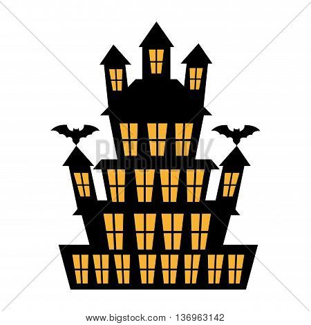 Big haunted house halloween theme cartoon, vector illustration.