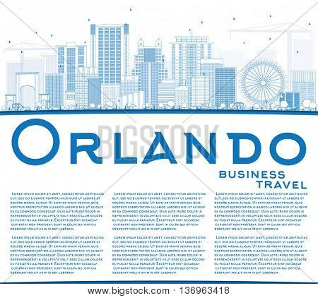Outline Orlando Skyline with Blue Buildings and Copy Space. Vector Illustration. Business Travel and Tourism Concept with Orlando City. Image for Presentation Banner Placard and Web Site.