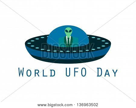 World Ufo Day, The Alien In A Spaceship. Flying Saucer. Ufo Icon Vector Illustration.
