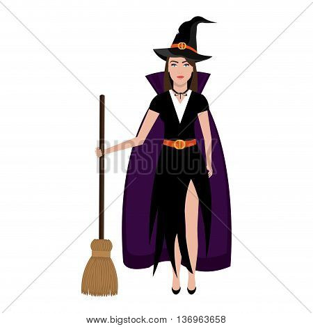 Beautiful witch costume with broomstick and hat cartoon, vector illustration.