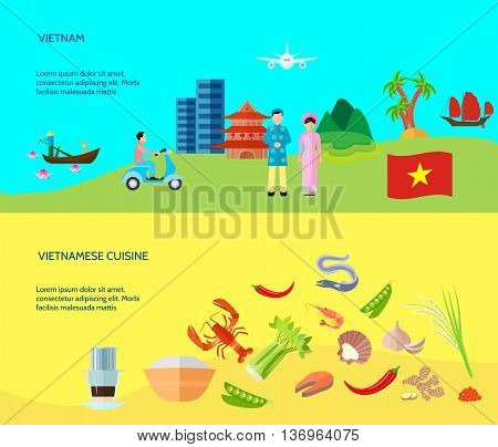 Information on vietnamese cuisine culture and places of interest and 2 flat horizontal banners abstract isolated vector illustration