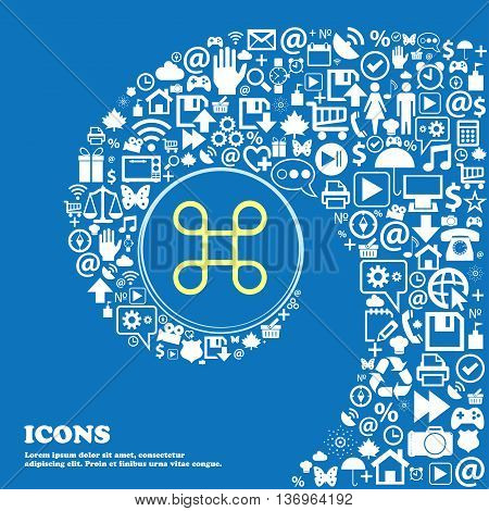Puzzle Piece Icon Sign . Nice Set Of Beautiful Icons Twisted Spiral Into The Center Of One Large Ico