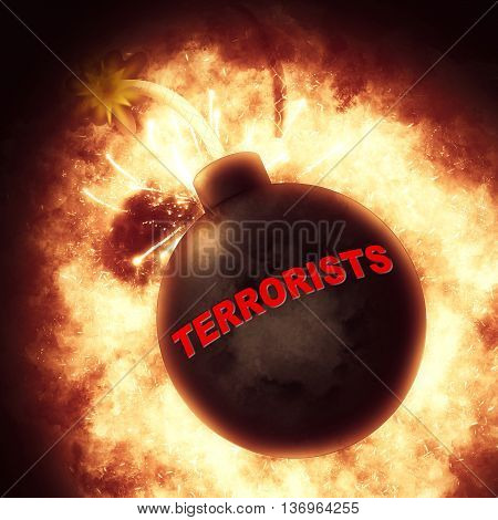 Terrorists Bomb Represents Freedom Fighters And Explosions