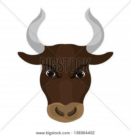 Angry bull face with big horns cartoon, vector illustration