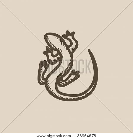 Lizard vector sketch icon isolated on background. Hand drawn Lizard icon. Lizard sketch icon for infographic, website or app.