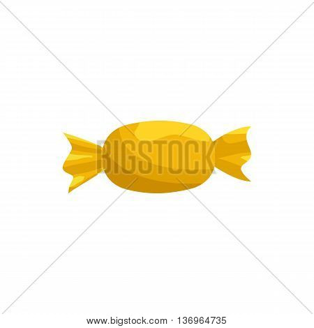 Candy in yellow wrapper icon in cartoon style on a white background