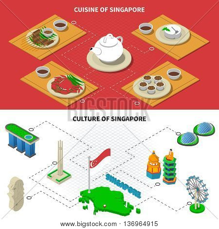 Singapore culture with stone lion sculpture and national cuisine dishes 2 isometric banners abstract isolated vector illustration