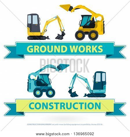 Construction machinery nice set. Blue ground works with sign. Machine vehicles, excavator. Building equipment digger, bagger. Heavy pavement foundation. Master vector illustration. Symbol brand.