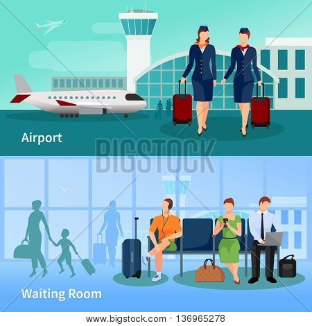 Airport flat compositions with people in waiting room and stewardesses on airfield at air terminal background vector illustration