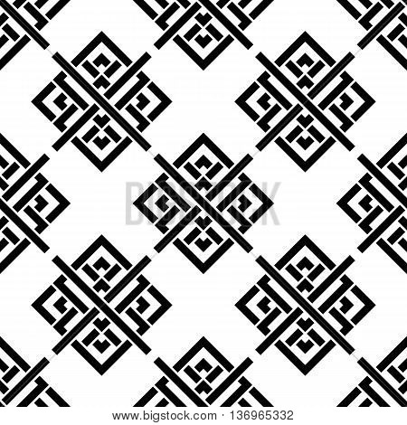 Vector seamless pattern. Geometric black and white ornament. Celtic pattern. Seamless monochrome pattern