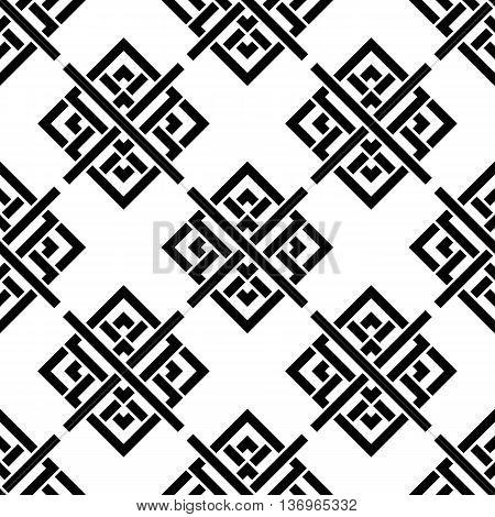 Vector seamless pattern. Geometric black and white ornament. Celtic pattern. Seamless monochrome pattern
