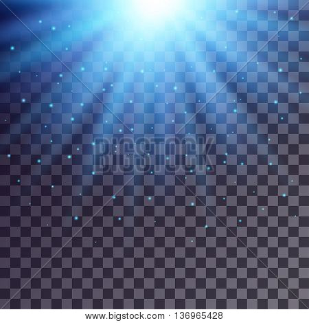Blue rays from top with shiny particles on transparent background.
