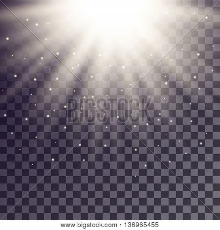 White rays from top with shiny particles on transparent background.