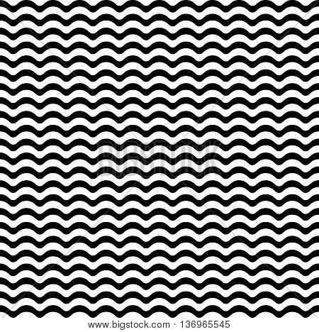 Seamless geometric pattern of sea waves. Waves pattern. Abstract nautical pattern. Seamless monochrome pattern