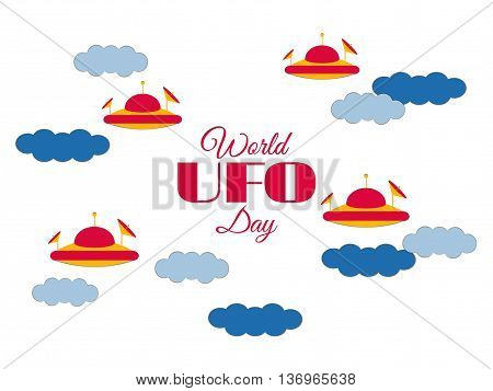 World Ufo Day. Paper Clouds And Flying Saucer Ufo In The Clouds. Flying Saucer. Ufo Icon Vector Illu