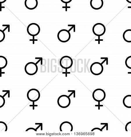 Seamless monochrome pattern.  Male and female symbols. Gender line icons