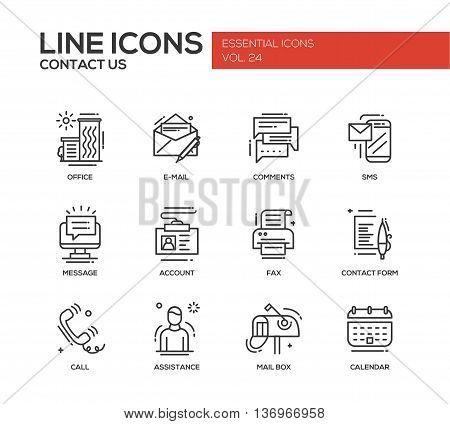 Contact Us - modern vector plain line design icons and pictograms set with communication symbols. Office, e-mail, comments, sms, message, account, fax, form, call, assistance, mail box calendar