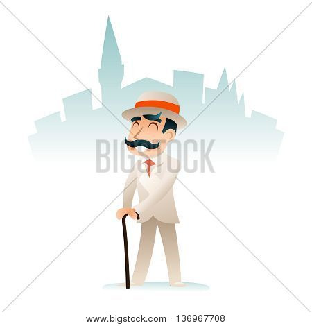 Gentleman Businessman Wealthy Cartoon Victorian Character Icon Stylish English City Background Retro Vintage Great Britain Design Vector Illustration