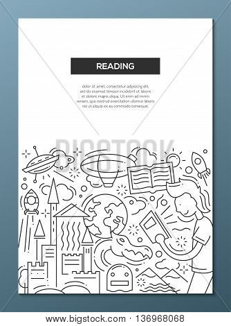 Reading - vector line design brochure poster, flyer presentation template, A4 size layout