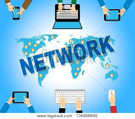 Online Network Represents Web Site And Computing