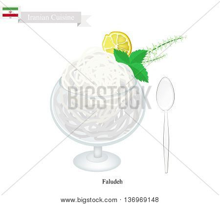 Iranian Cuisine Faludeh or Traditional Cold Dessert Made From Rice Noodle Syrup and Rose Water Sorbet. One of The Most Popular Dessert in Iran.