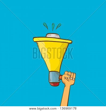 hand holding megaphone on blue background. Promotion and advertising cartoon style banner. vector Digital marketing. cartoon Business concept.