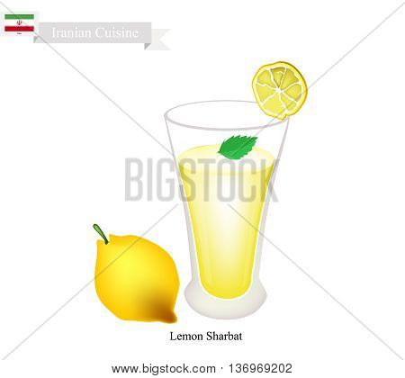 Iranian Cuisine Lemon Sharbat or Traditional Drink Made From Lemon and Aromatic Syrup. One of The Most Popular Drink in Iran.