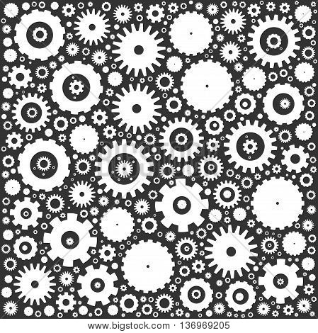 Gear cog wheels background. White vector illustration on grey background.