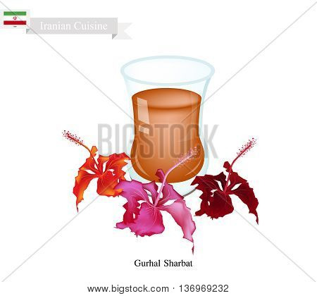 Iranian Cuisine Gurhal Sharbat or Traditional Drink Made From Hibiscus Petals and Aromatic Syrup. One of The Most Popular Drink in Iran.