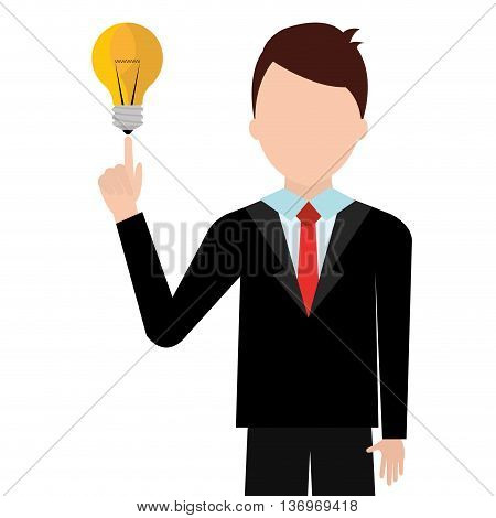 Young businessman with great ideas cartoon, vector illustration.