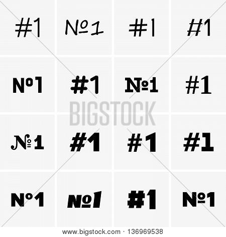 Set of number one labels on grey background