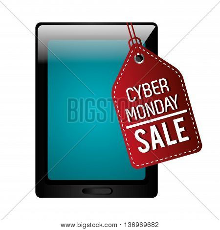 Tablet with cyber monday discount offer, vector illustration.