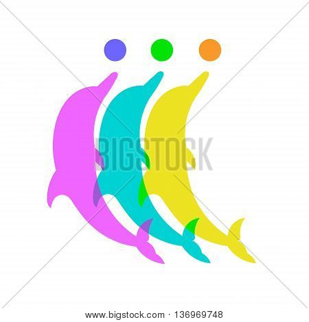 Silhouette of three dolphins with balls. Vector silhouette on a white background.