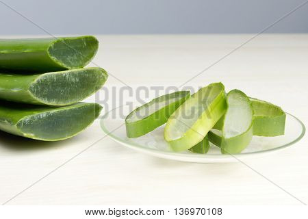 Fresh cut Aloe Vera leaves slices, cosmetic herbal