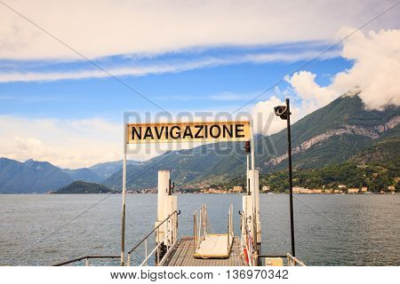 Dock of Lake Como in Bellagio Italy