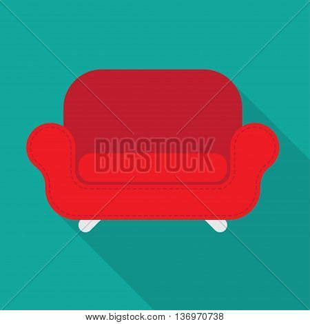Vector red armchair isolated with long shadow