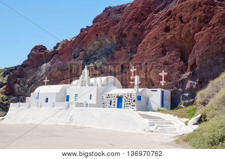 Church At Santorini Island On Red Beach