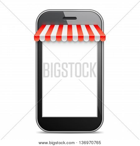 Mobile Phone with blank white screen and red awning. Internet online shopping and e-commerce concept. Vector illustration