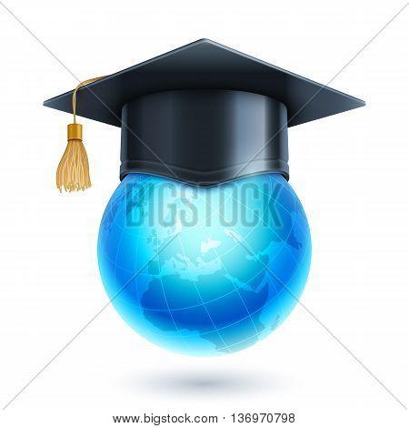 Graduation cap or mortar board on top of world globe. Vector education icon