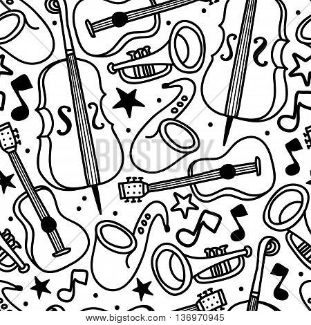 seamless background with musical instruments, jazz or blues music, vector illustration