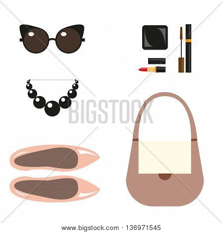 Fashion still life. Vector illustration Fashion accessories. Still life of shoes, handbag, necklace, sunglasses, decorative cosmetics. Flat design Top view