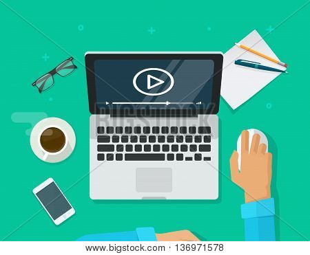 Workplace with person working on laptop watching video player, concept of webinar, business online training, education on computer, e-learning concept, video tutorial vector illustration