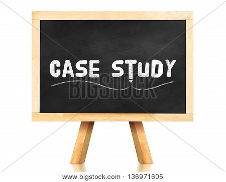 Case Study Word And Pencil Icon On Blackboard With Easel And Reflection On White Background,business